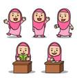 various activity girl islamic school kids vector image vector image