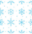 various blue snowflake seamless pattern winter vector image