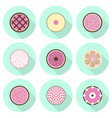 various cakes flat icon set vector image vector image