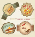 vintage food labels set vector image vector image