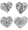 Set of hand drawn hearts in tribal style vector image