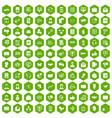 100 interaction icons hexagon green vector image vector image