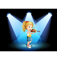 A stage with a young girl playing with her violin vector image vector image