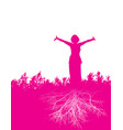a well grounded woman with hands raised up vector image vector image