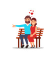 beautiful woman and bearded man sitting on wooden vector image vector image