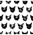 Cat head grunge prints seamless pattern in black vector image vector image
