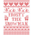 christmas pattern frosty the snowman vector image vector image