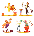 Circus Retro Cartoon 4 icons Square vector image vector image