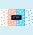 clouds pattern set in pink and blue shades vector image vector image