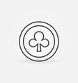 clubs card suit simple icon in outline vector image vector image