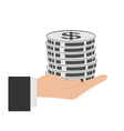 coins in hand icon vector image vector image