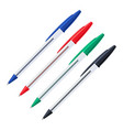 common colored ballpoint pens with caps set vector image vector image