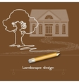 Contour tree house stone pathway pencil and vector image vector image