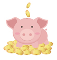Cute Piggy Bank Standing On Many Gold Coins vector image vector image
