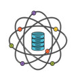data science atom around of server icon in color vector image vector image