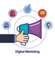 digital marketing hand holding megaphone app media vector image