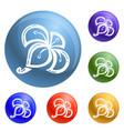 exotic plumeria icons set vector image