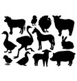 farm animals livestock silhouettes vector image