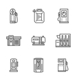 Gas station black line icons collection vector image