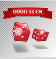 Good luck banner with realistic casino dice on