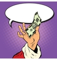 Hand of Santa Claus with Christmas money vector image vector image