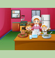happy children and mom cooking food in the kitchen vector image