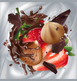 hazelnuts with strawberries and chocolate on a vector image