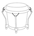 isolated bongo drum outline vector image vector image