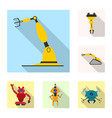isolated object of robot and factory symbol vector image