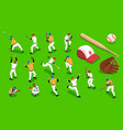 isometric baseball set vector image vector image