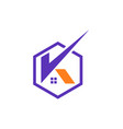 k letter logo with home sign symbol in a polygon vector image vector image