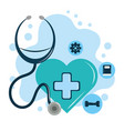mental health day green heart stethoscope vector image vector image