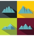 Mountain blue icons with long shadow on color vector image vector image