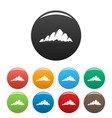 mountain landscape icons set color vector image vector image