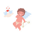 naughty cupid character holding bow and doves vector image