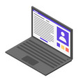 office laptop icon isometric style vector image vector image