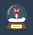 owl in christmas costume in snowball vector image vector image