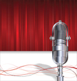 Retro microphone on red background vector image