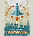 rocket retro poster business startup concept vector image