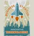 rocket retro poster business startup concept with vector image vector image