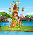 scene with fairies flying around tower vector image vector image