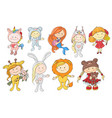 set cute cartoon babies in hats different vector image