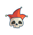 skull character with clown hat vector image vector image