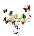 strawberry plant with butterflies vector image vector image