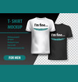 t-shirt mockup with funny phrase in two colors vector image vector image