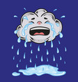 the cute crying cloud character vector image