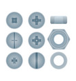 top view steel bolts with nuts and screws set vector image