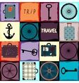 Travel background with wheels and suitcases vector image