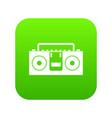 vintage tape recorder icon digital green vector image