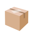 White Label on Blank Brown Cardboard Box vector image vector image
